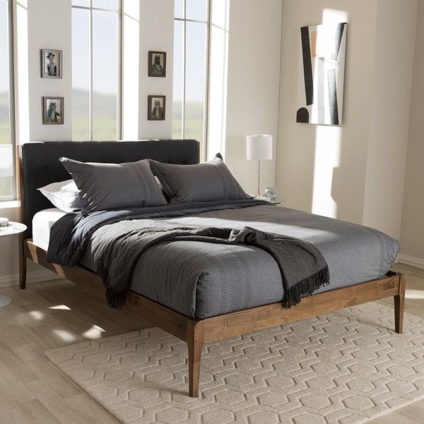 Mid-Century Fabric Upholstered and Medium Brown Finish Wood Platform ...