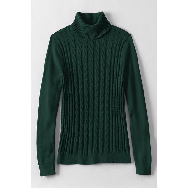 Lands' End Women's Tall Cotton Cable Turtleneck Sweater ($179 ...