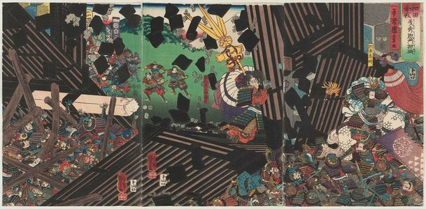 歌川国芳: The Wada Rebellion: Yoshihide Breaks Down the Great Gate (Wada kassen Yoshihide sômon o oshiyaburu) - ボストン美術館