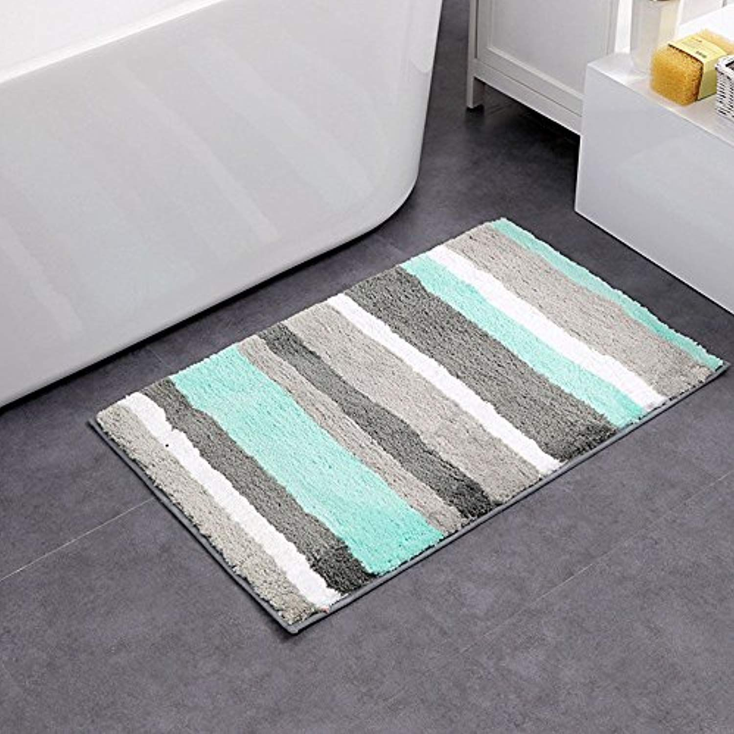 Uphome Colorful Microfiber Striped Bathroom Shower Accent ...