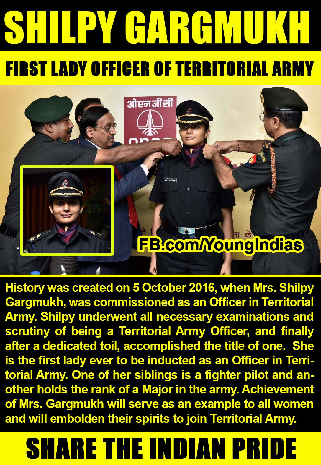 Young India Facebook Page for Inspiring the youth - meet Shilpy Gargmukh.  She is the
