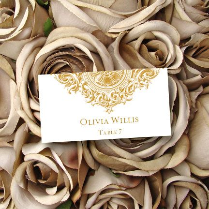 Printable Gold Place Card Template Vintage Wedding Or Anniversary