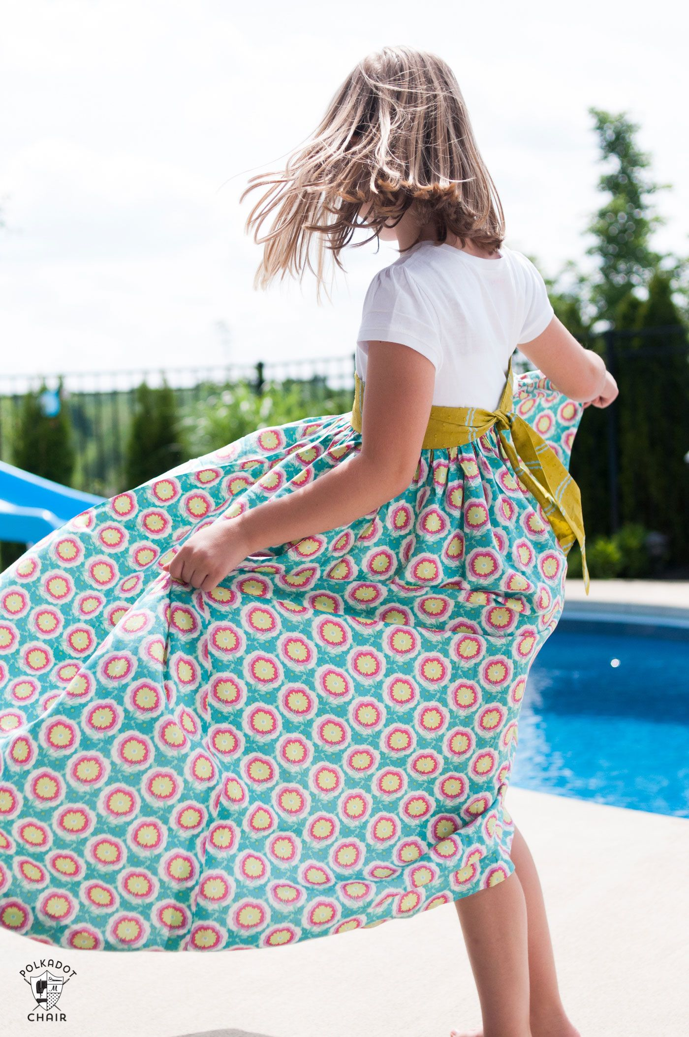 Tutorial summer maxi dress pattern tshirt refashion girls maxi