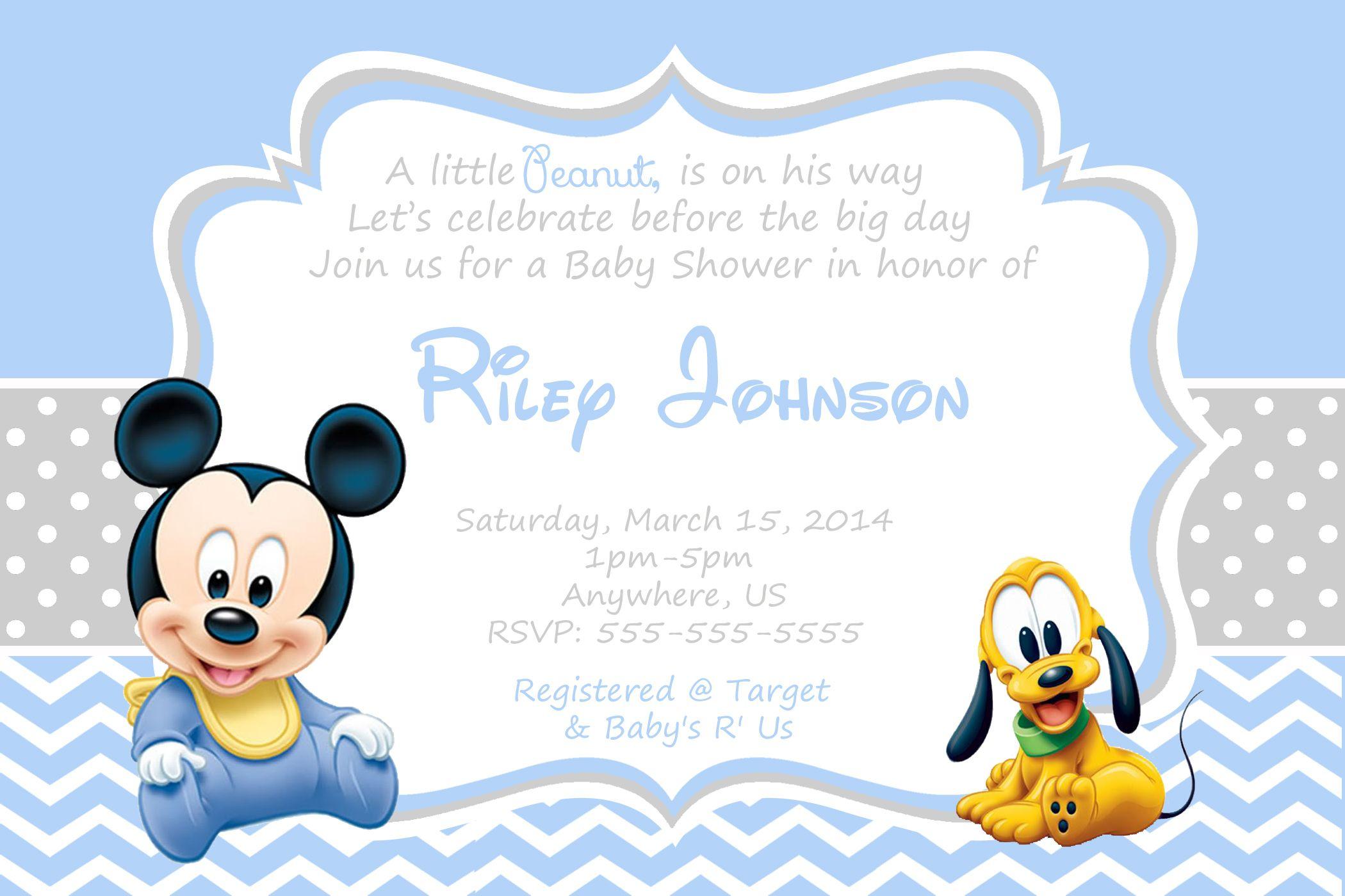 Baby Mickey Mouse Baby Shower Invitation $8.99   baby boy birthday ...