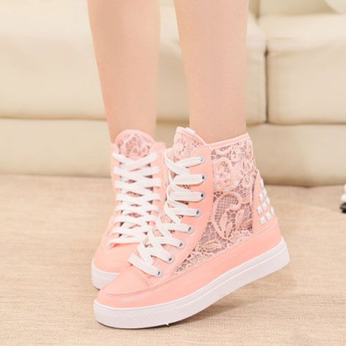 4f72afa99bd6 Cute pink shoes perfect for girls. Lace Mesh Rivets High Top Lace Up Platform  Sneaker