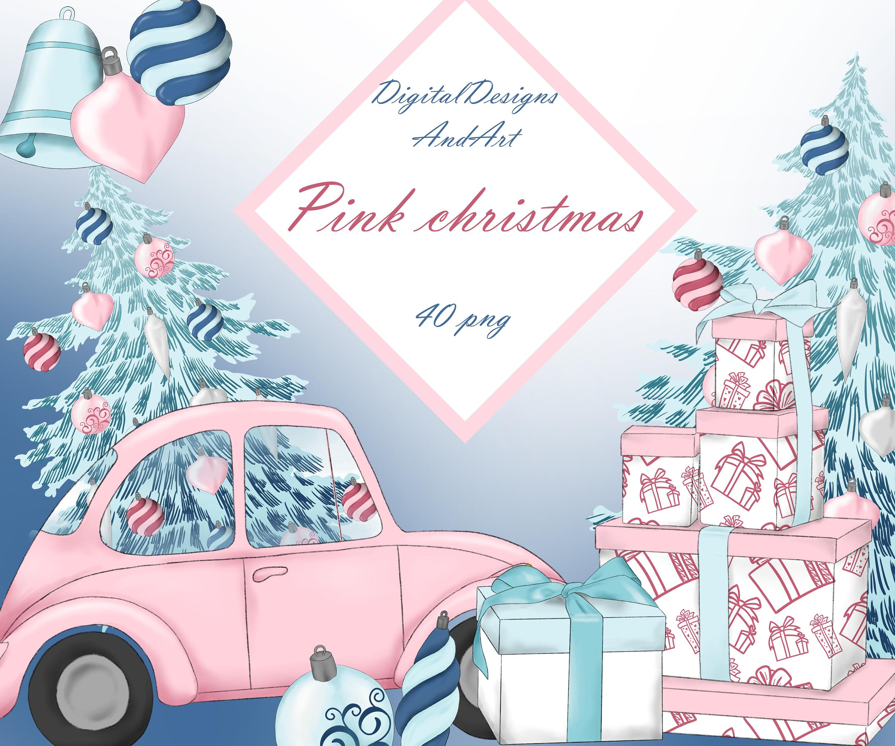 Toys car clipart  Pink christmas clipart Watercolor clipart Xmas clipart Christmas