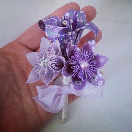 origami bouquet paper flower bouquet bridal wedding alternative bouquet vintage buttons  gems