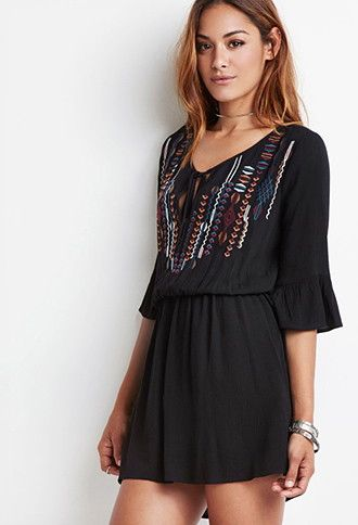 b8b67a509 Embroidered Bell-Sleeve Peasant Dress | Forever 21 - 2000095841 ...