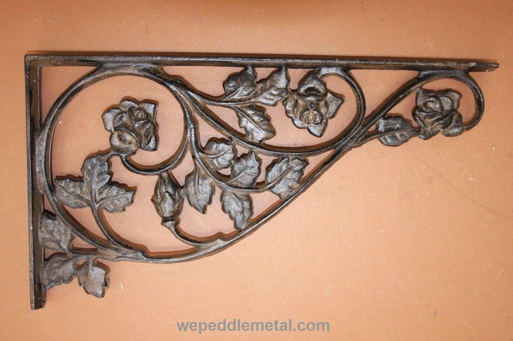 Extra Large Decorative Shelf Brackets Rosebud Design Cast Iron 16 7 8 Shipping Included B Cast Iron Shelf Brackets Decorative Shelf Brackets Shelf Brackets