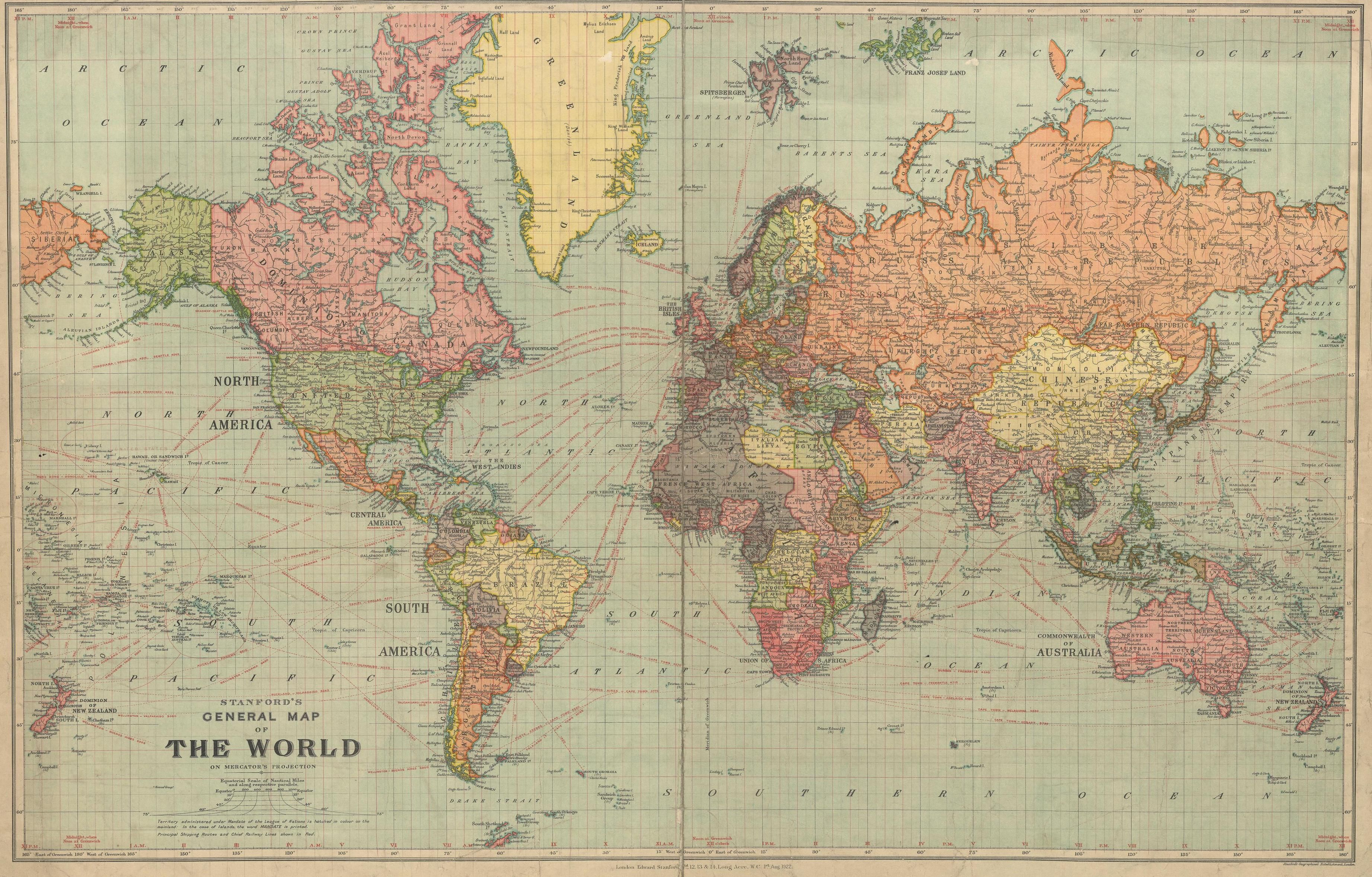 Ca 1920 stanfords general map of the world maps pinterest cavallini world map wrap x printed on cavallinis signature italian paper archival perfect for wrapping as posters framing and other creative endeav gumiabroncs Gallery