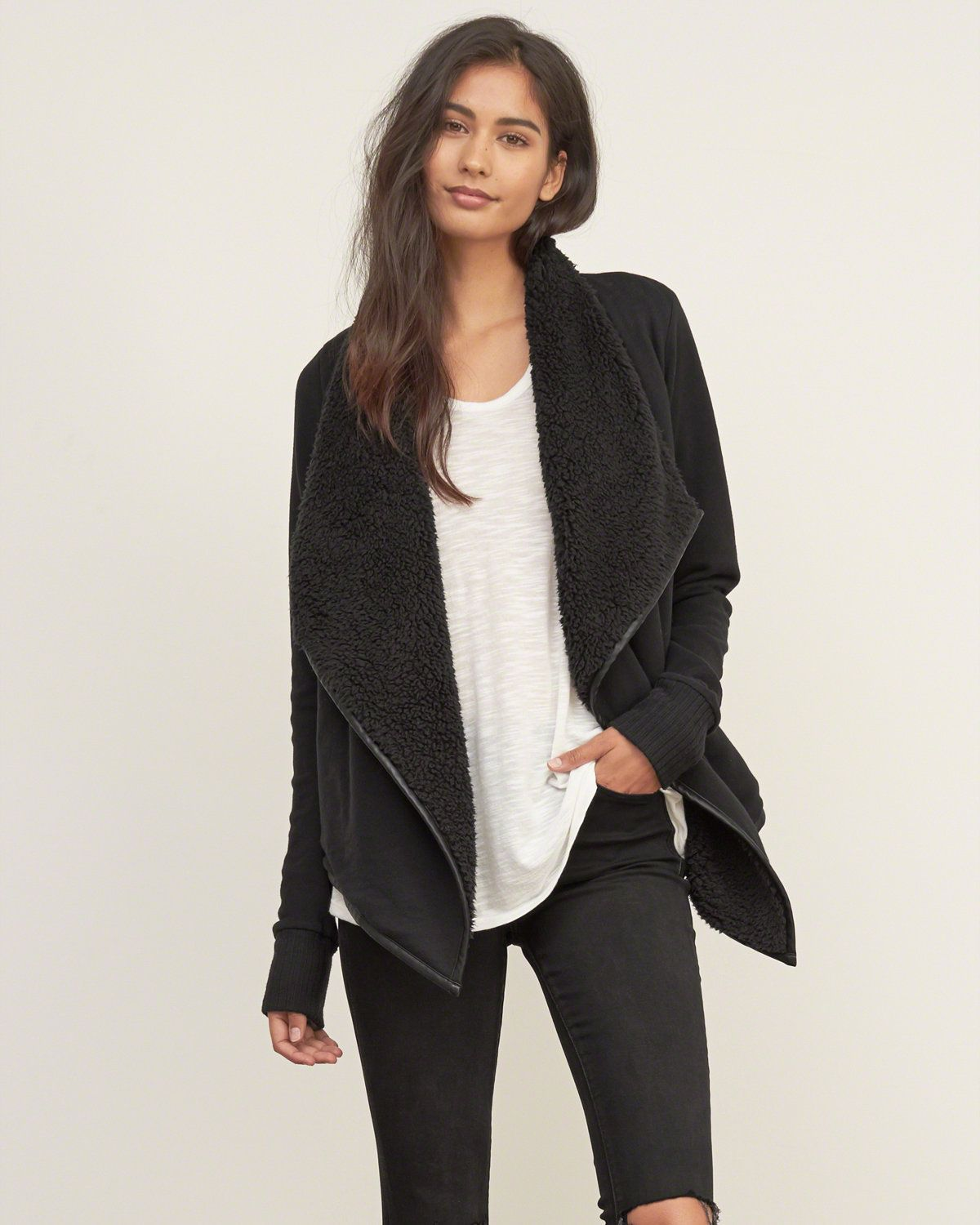 Womens Sherpa Non Closure Cardigan Womens Sweaters