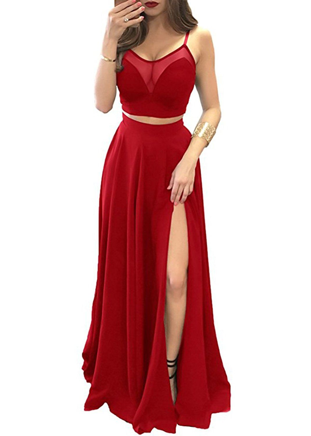 Sexy crop top black prom dress spaghetti straps long evening party