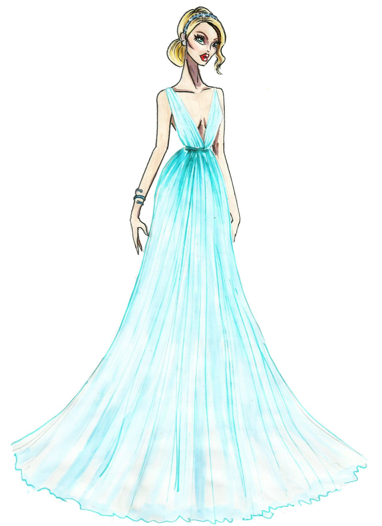 Red Carpet Recap: Our Live Sketches from the Oscars ... |Red Carpet Dresses Drawings