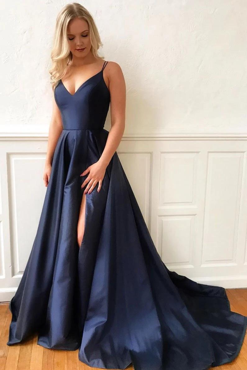 Langes Ballkleid aus dunkelblauem Satin, blaues Abendkleid B19