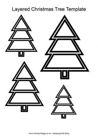 Layered Christmas Tree Template Christmas Tree Template Christmas Templates Tree Templates