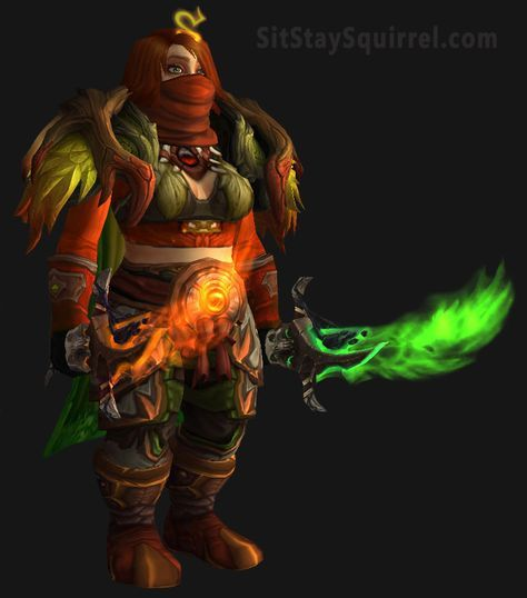 Wow Dwarf Monk Set Wow Dwarf World Of Warcraft Fiery Red