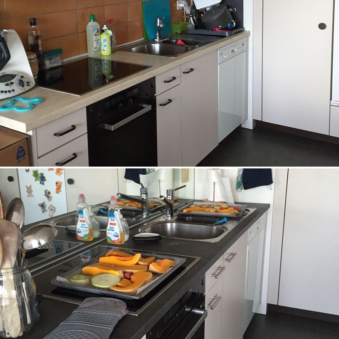 Kitchen Kuche Cuisine Vorher Nachher Arbeitsplatte Ikea Spiegel Obi Griffe Jumbo Kuche Pimpen Kuche Lebensmittel Einkaufen