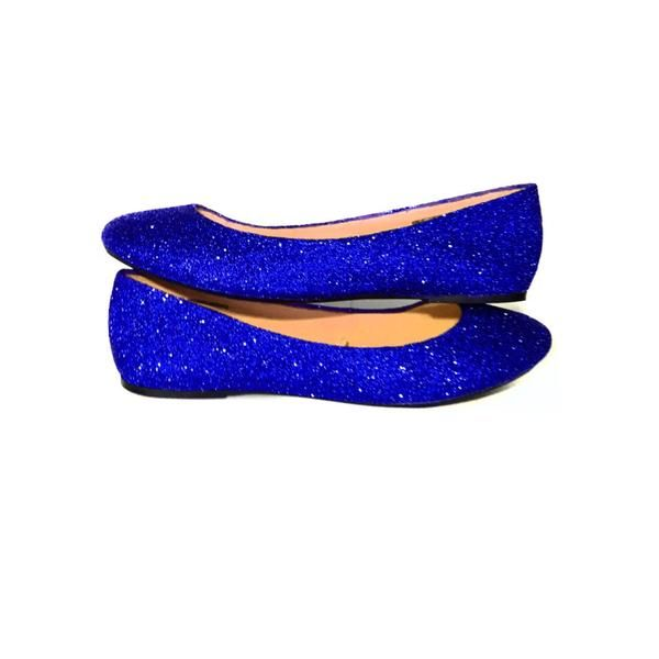 Sparkly Royal Blue Glitter Ballet Flats shoes wedding bride Prom Graduation  Sweet 16 Bridal - Glitter
