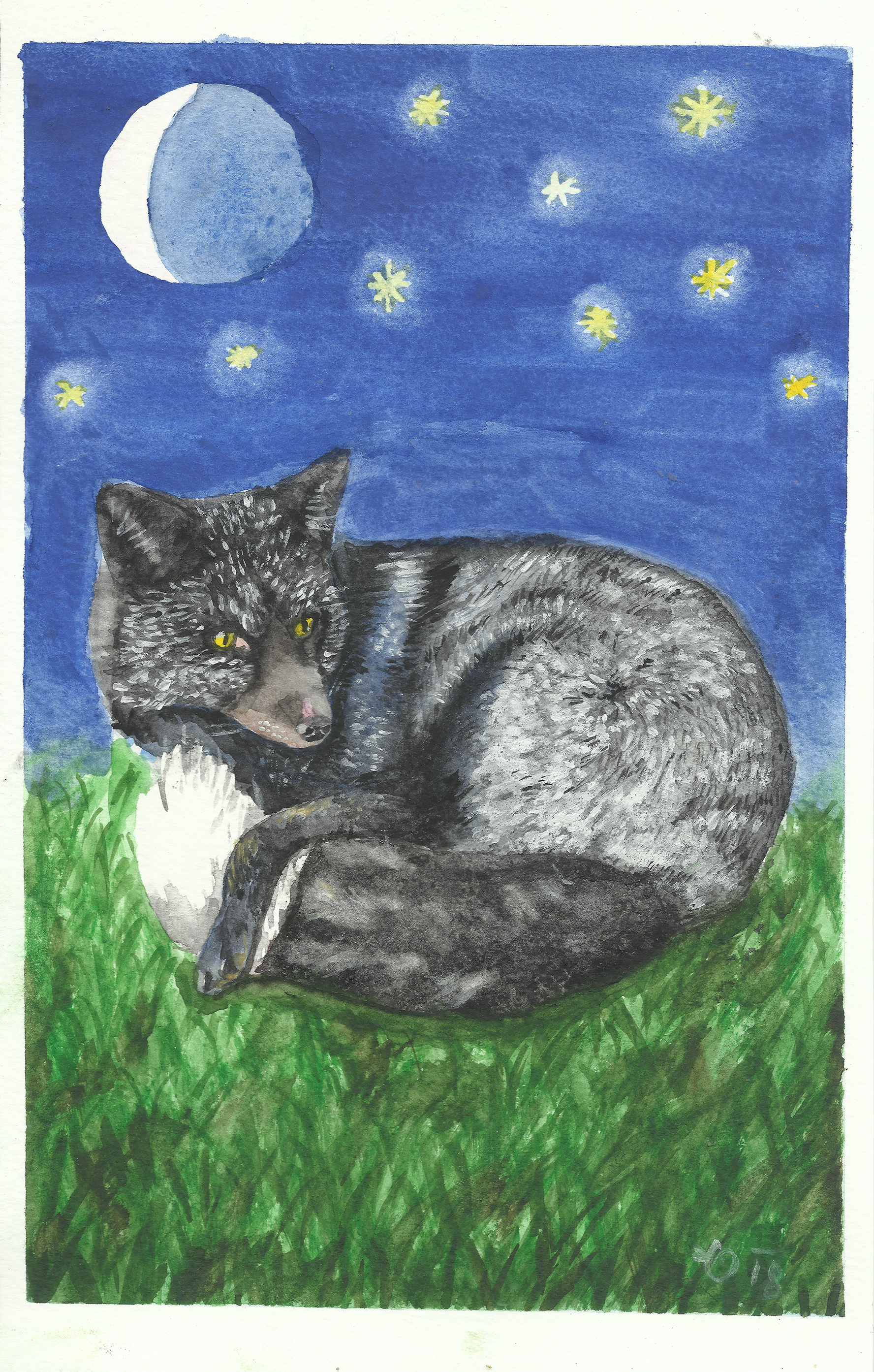 I felt the need to paint this black fox after she payed me a