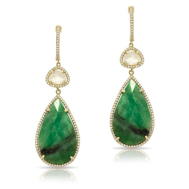 14kt Yellow Gold Emerald And White Shire Diamond Drop Earrings