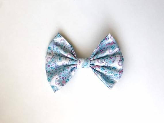 Unicorn Girls Hair Bow - Baby Blue Hair Bow - Fabric Fan Bow #pictureplacemeant