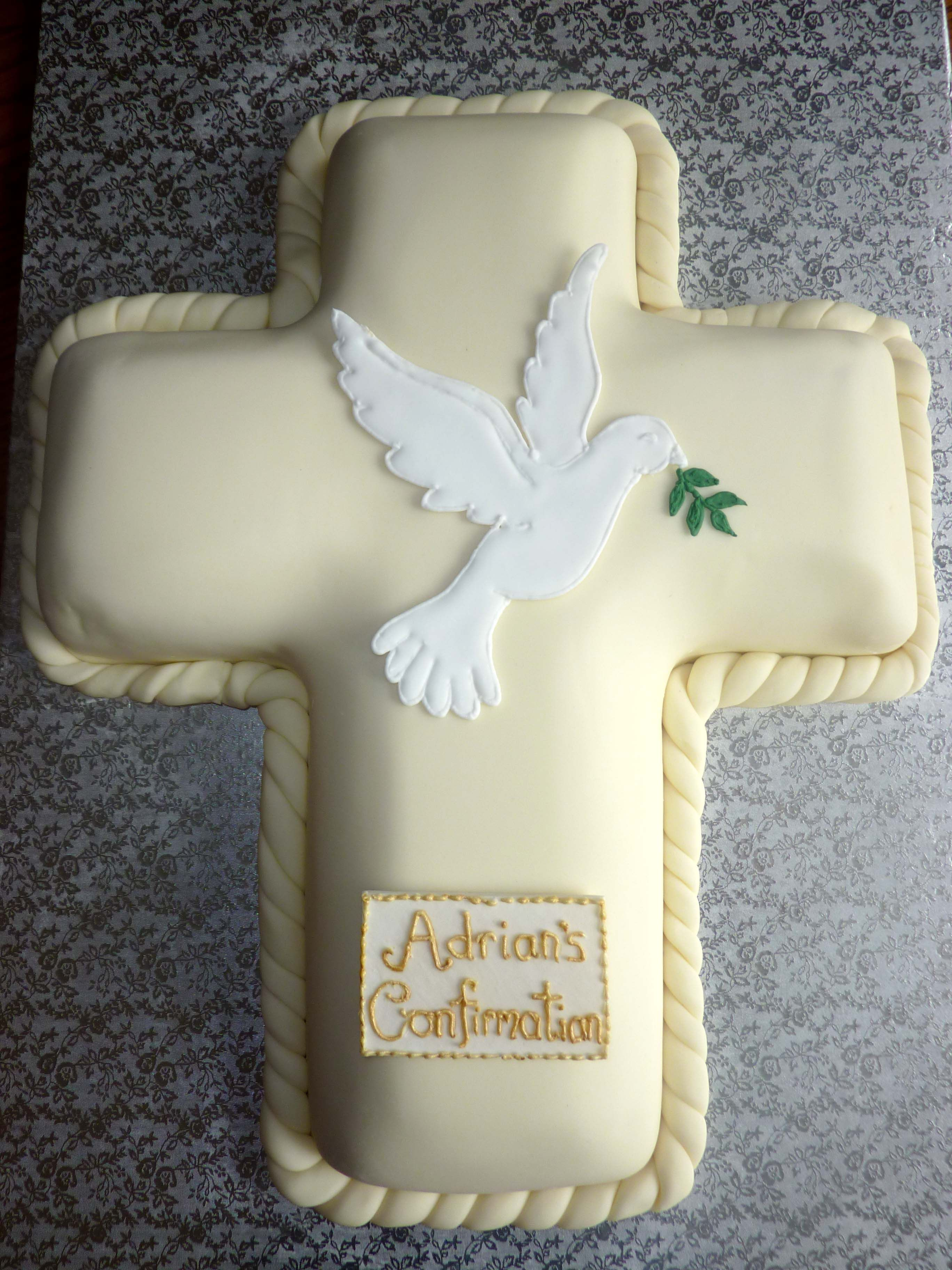 Confirmation Cross Cake with Royal Icing Dove Topper | cake