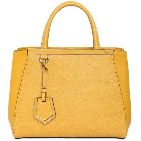 FENDI Mini 2jours Structured Leather Bag (€1.680) ❤ liked on Polyvore featuring bags, handbags, purses, bolsas, genuine leather purse, genuine leather handbags, real leather purses, leather purse and yellow leather handbag