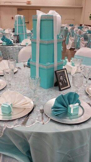 Tiffany Box Centerpieces Wedding Or Quinceanera Tiffany Birthday Party Tiffany Baby Shower Theme Tiffany Baby Showers