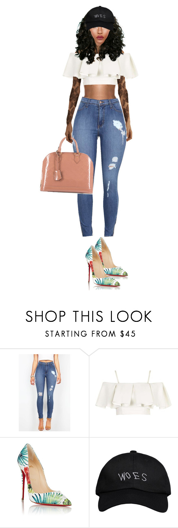 """T"" by queen-tianna ❤ liked on Polyvore featuring Topshop, Christian Louboutin, October's Very Own and Louis Vuitton"
