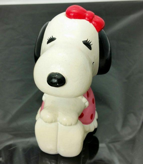 Vintage Peanuts Snoopy Sister Belle Bank Paper Mache Korea Girl Dog Pink Dress Charlie Brown Rare Snoopy Girl And Dog Peanuts Snoopy