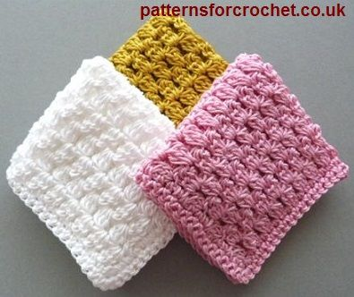 Shell Stitch Wash Cloth Crochet PATTERN Digital PDF 3 Sizes Face Dish Cloth