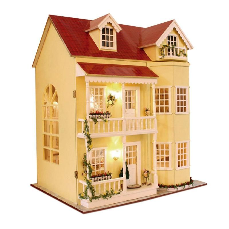 Diy Doll House Miniature Model With Furnitures Led 3d Wooden Dollhouse Handmade House For Dolls Toys For Children Gifts A035 Attractive Fashion Doll Houses Toys & Hobbies