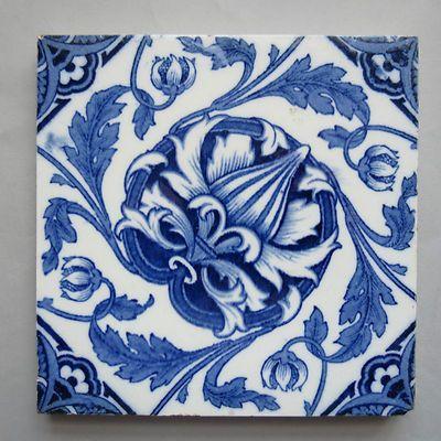 Wedgwood Ceramic Tile Blue White Transfer Print Flower