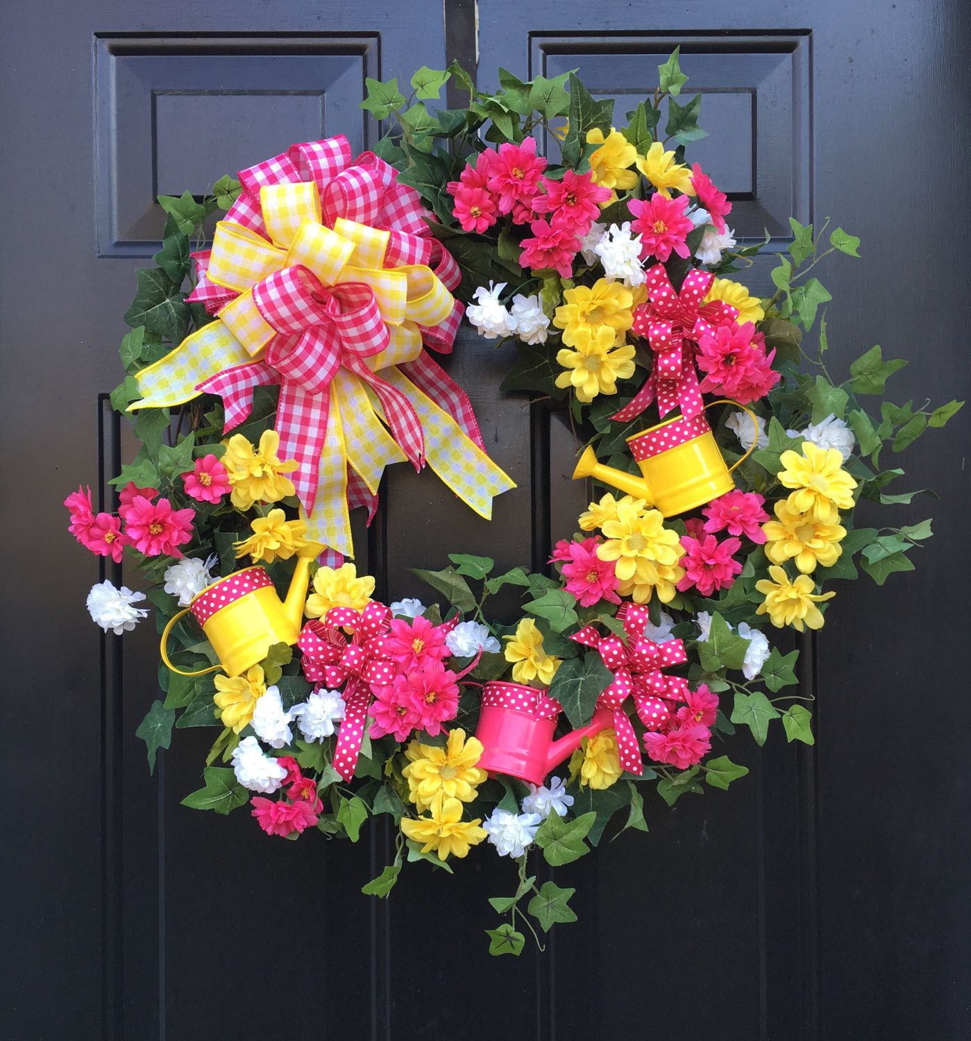 Hot pink/yellow watering can spring or summer wreath by MyPlaceHappyDesigns on Etsy