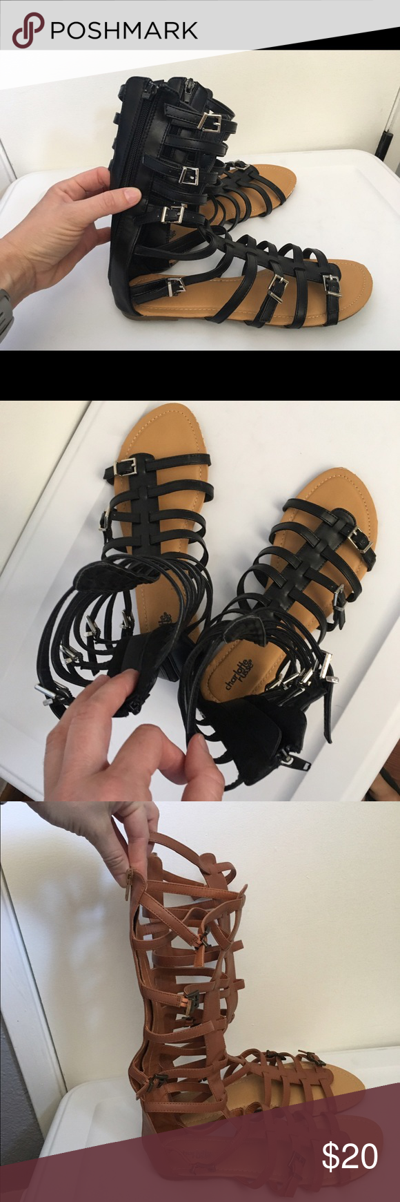 Charlotte Russe Gladiator Sandals Black, like new, size 9. Charlotte Russe Shoes Sandals
