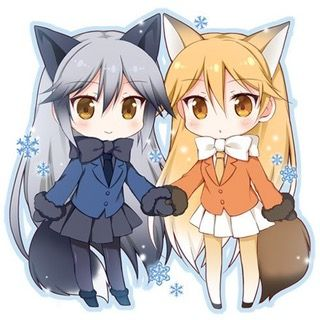 Holding Hands Kemono Friends Chibi Anime Wolf Girl Anime Best Friends Kemono Friends