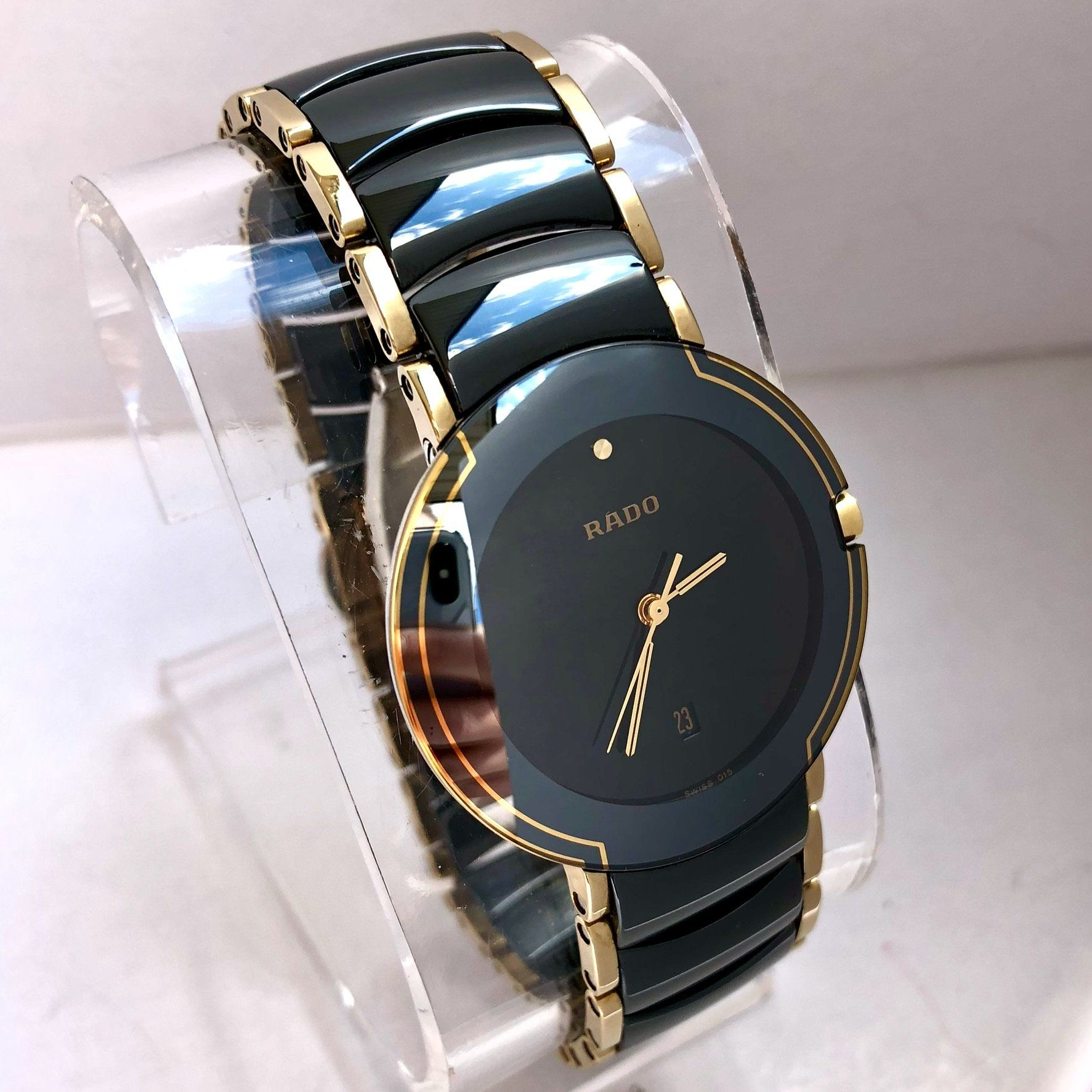 Rado Diastar Date Quartz 18k Gold Filled Steel High Tech Ceramics Men S Unisex Watch Luxury Watches For Men Timex Watches Mens Watches Classy