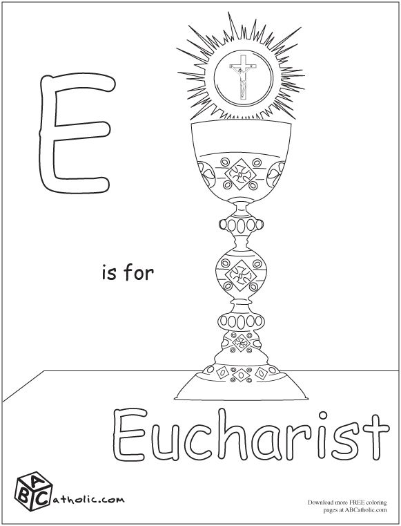 A-Z Catholic coloring pages- Free downloads E is for