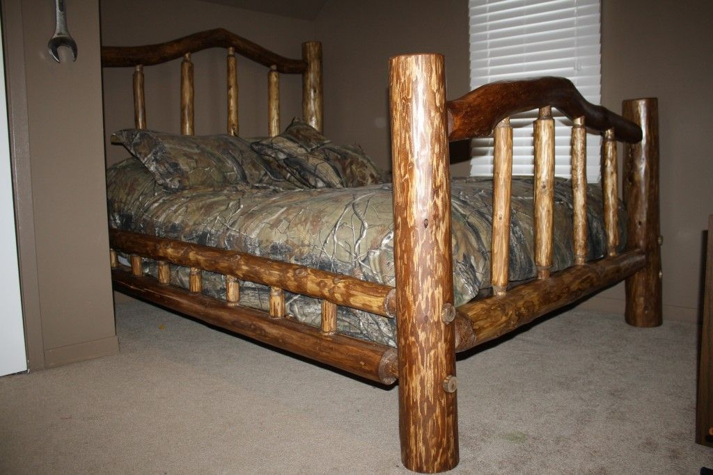 Pine Double Log Bed With Early American Stain. Furniture