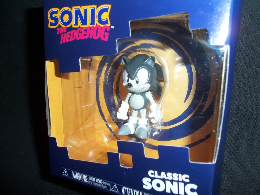 Sonic The Hedgehog Classic Sonic 2 Action Figure New Black Gray White Tomy Tomy Action Figures Classic Sonic Action Figures Toys