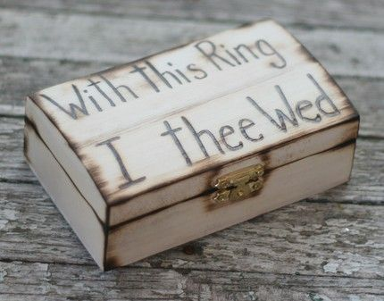 With This Ring I Thee Wed | Rustic Ring Bearer Pillow Engraved Wood Box With This Ring I Thee
