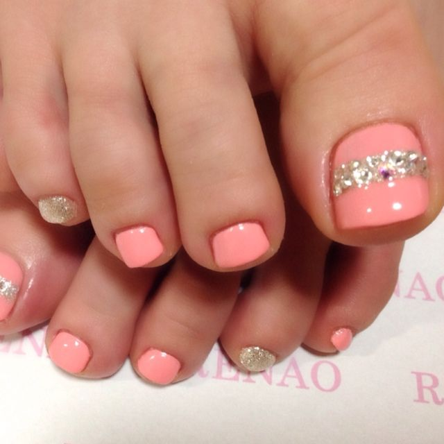 Coral+Rhinestone toe nail art nailbook.jp | TOE NAIL ART ...