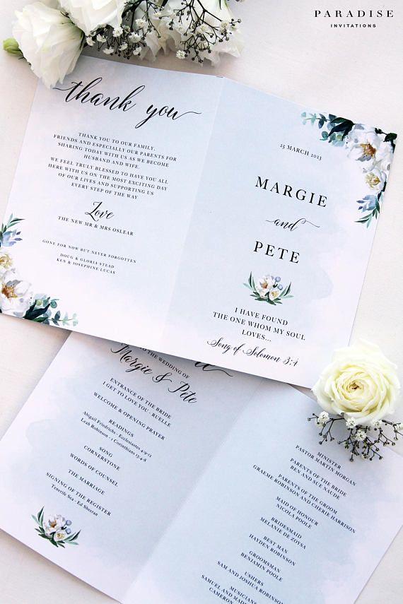 WEDDING PROGRAM folded - Printable Wedding Programs or printed ...