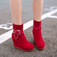 Stylish womens vintage side zip wedge heel platform ankel boots warm plus size