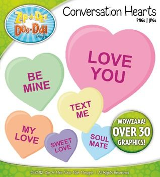 Valentine S Day Conversation Hearts Clipart Over 30 Graphics Heart Clip Art Clip Art Heart Clipart