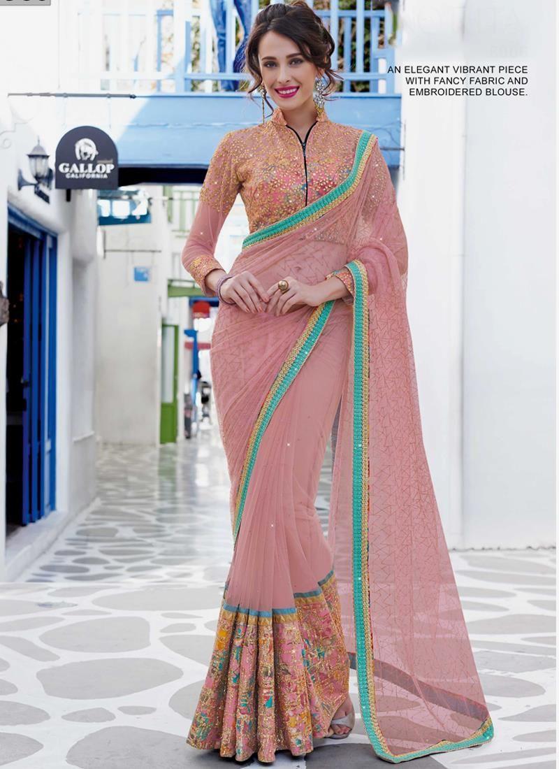 Talismanic net pink designer saree the girly pink pinterest