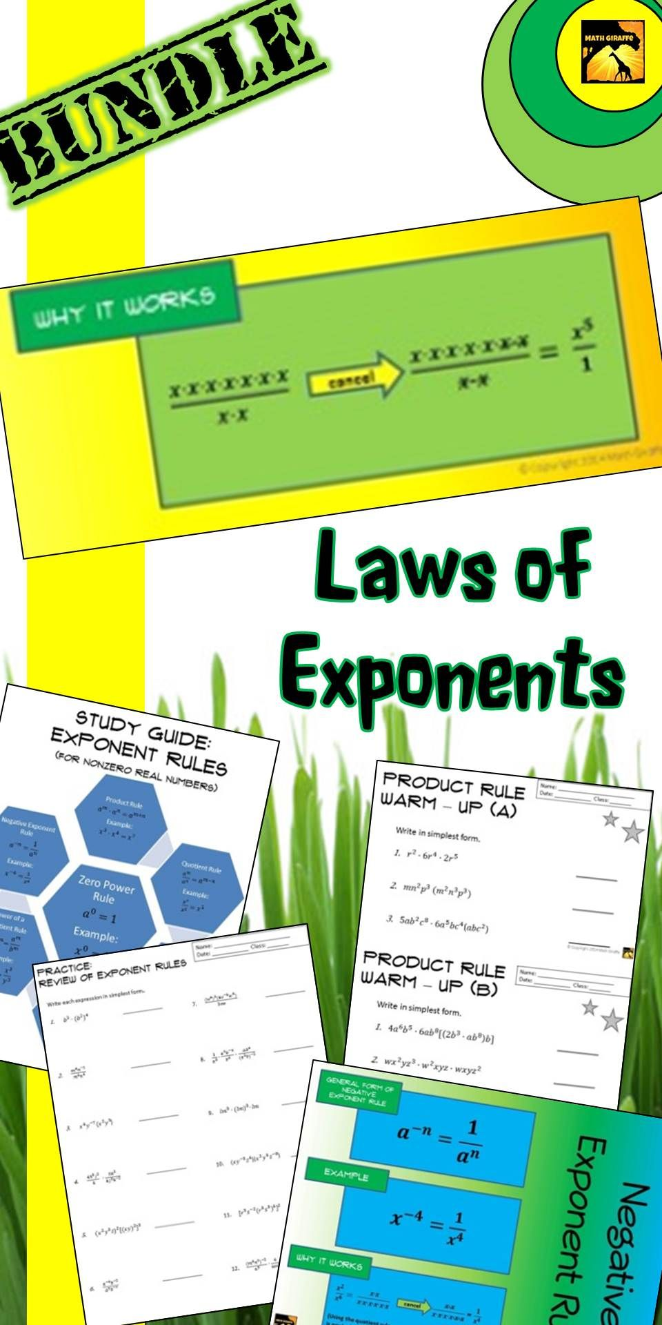 Laws of Exponents Bundle Practice with Power Rules 8th