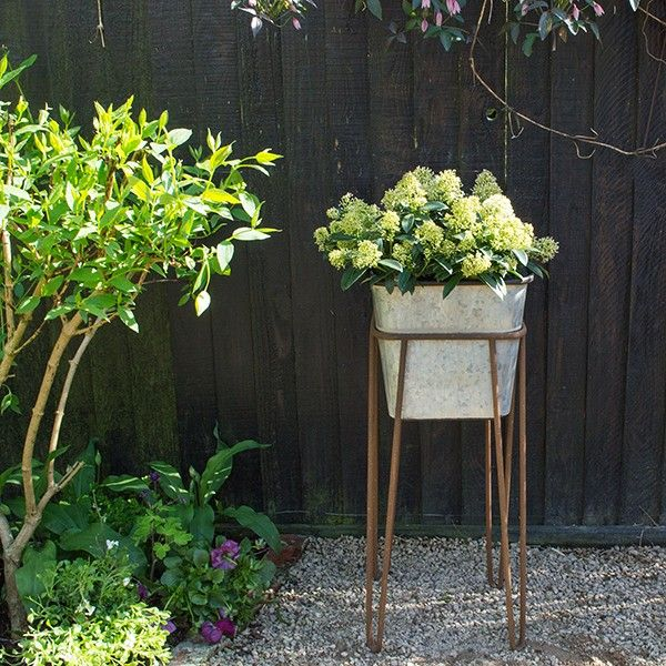 Zinc Effect Planter with Stand - available from MiaFleur