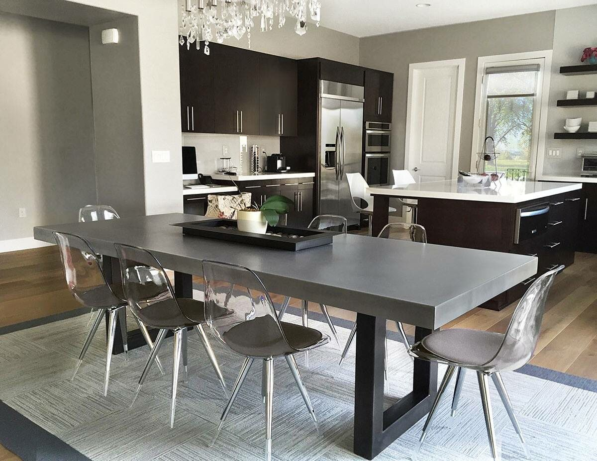 I love this concrete dining table contemporary simplicity for Mobilia kitchen table