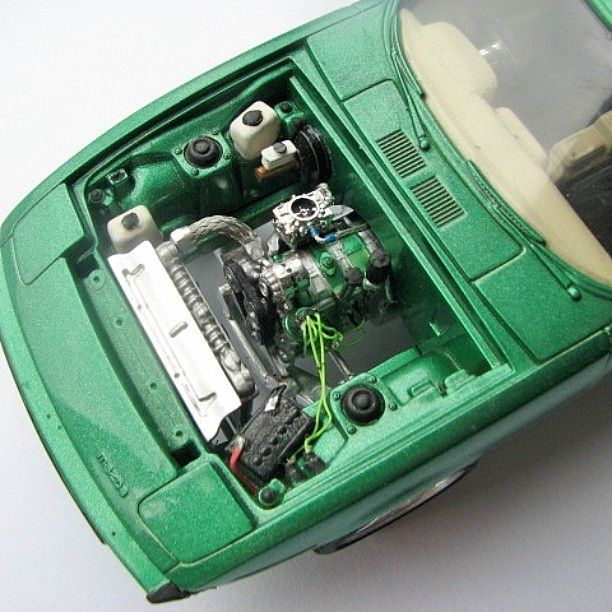 Rx7 Engine Used: 1/24 Scale Monogram Rx7 Engine Bay. #mazda #rotary #rx7